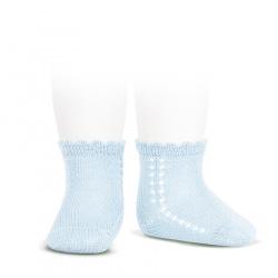 Perle side openwork short socks BABY BLUE
