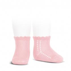 Perle side openwork short socks PINK