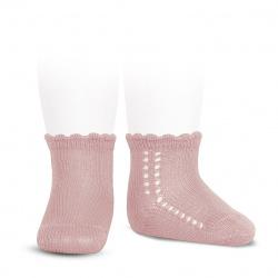 Perle side openwork short socks PALE PINK