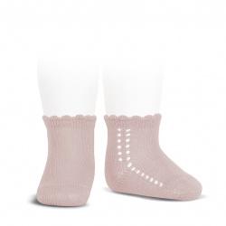 Perle side openwork short socks OLD ROSE