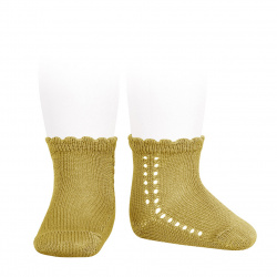 Perle side openwork short socks MUSTARD