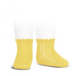 Perle side openwork short socks LIMONCELLO