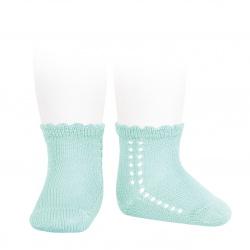 Perle side openwork short socks AQUAMARINE