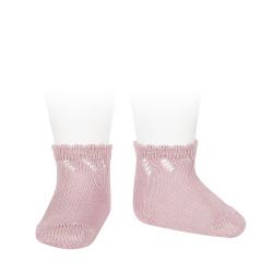Perle diagonal openwork short socks PALE PINK