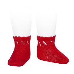 Perle diagonal openwork short socks RED