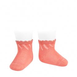 Perle diagonal openwork short socks PEONY