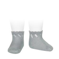Perle diagonal openwork short socks DRY GREEN