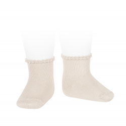 Short socks with patterned cuff LINEN