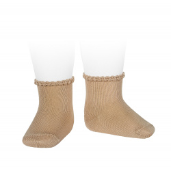 Short socks with patterned cuff CAMEL