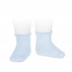 Short socks with patterned cuff BABY BLUE