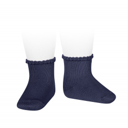 Short socks with patterned cuff NAVY BLUE
