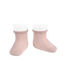 Short socks with patterned cuff OLD ROSE