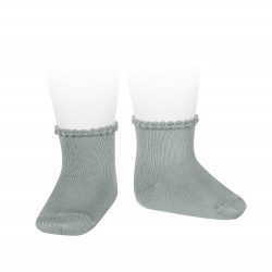 Short socks with patterned cuff DRY GREEN