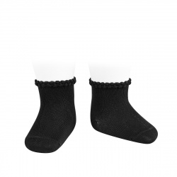 Short socks with patterned cuff BLACK