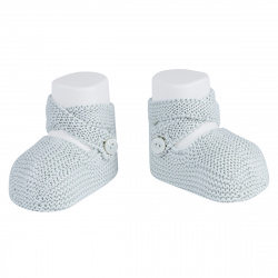 Garter stitch booties with buttons PEARLY
