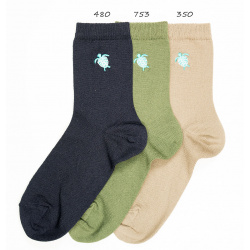 Seaqual turtle embroidery short socks