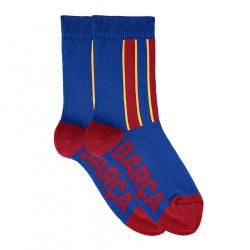 Basic barça short socks with vertical stripes