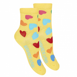 Heart fancy short socks YELLOW