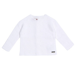 Links stitch openwork sweater WHITE