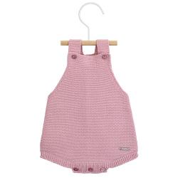 garter stitch baby romper PALE PINK
