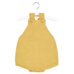 garter stitch baby romper MUSTARD