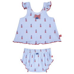 Med riviera upf 50 tankini with swim diapers BABY BLUE