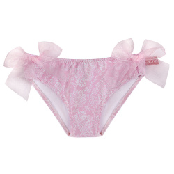 Pink ballerina upf 50 bikini bottom w/organza bows PETAL