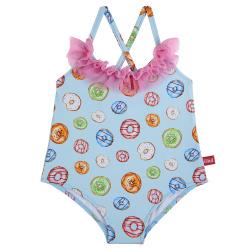 Delicakes upf 50 swimsuit w/frill tulleand bow AQUAMARINE