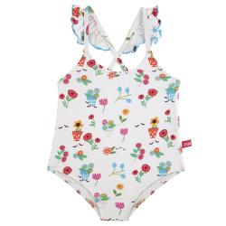 Gardening upf 50 swimsuit with flounce WHITE