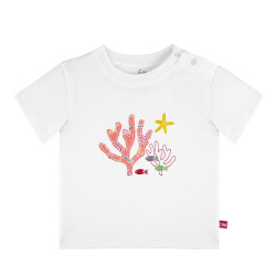 Under the sea embroidery short sleeve t-shirt WHITE