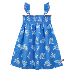 Save the turtles quick dry dress with smock ELECTRIC BLUE