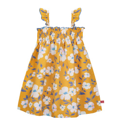 Sunny summer quick dry dress with smock MUSTARD