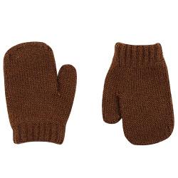 Merino wool-blend one-finger mittens CHOCOLATE
