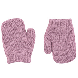 Merino wool-blend one-finger mittens PINK