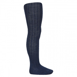 Wool rib tights NAVY BLUE