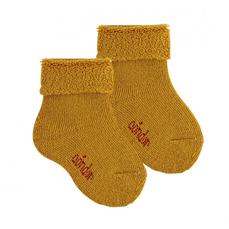 Wool terry short socks with folded cuff CURRY
