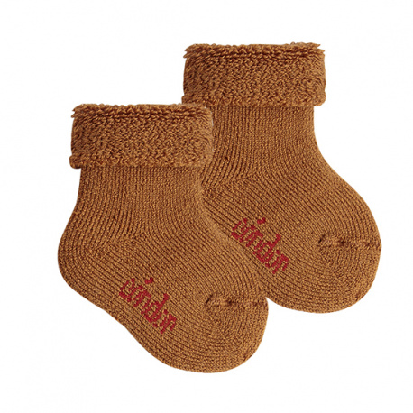 Wool terry short socks with folded cuff OXIDE