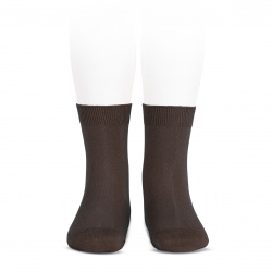 Elastic cotton short socks BROWN