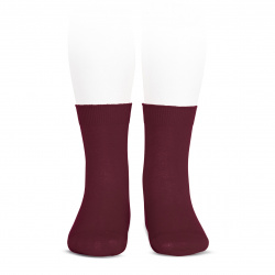 Elastic cotton short socks BURGUNDY