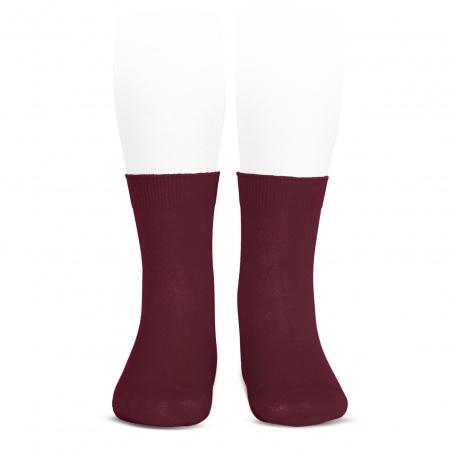 Elastic cotton short socks BURGUNDY