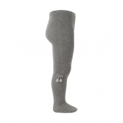 Baby cotton tights with small pompoms LIGHT GREY