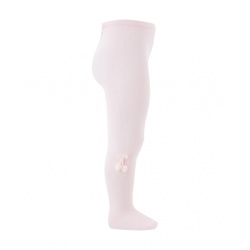 Baby cotton tights with small pompoms PINK