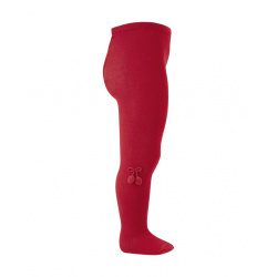 Baby cotton tights with small pompoms RED