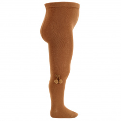 Baby cotton tights with small pompoms CINNAMON