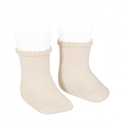 Short socks with openworked cuff LINEN