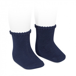 Short socks with openworked cuff NAVY BLUE