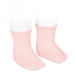 Short socks with openworked cuff PINK