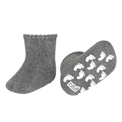 Baby non-slip terry socks with patternedcuff LIGHT GREY