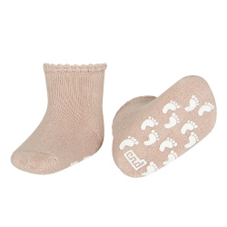Baby non-slip terry socks with patternedcuff OLD ROSE