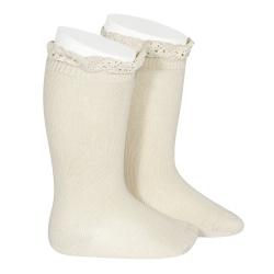 Knee socks with lace edging socks LINEN